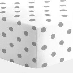 White and Gray Polka Dot Crib Sheet | Carousel Designs