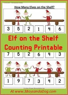 Elf on the Shelf Counting Elf Counting Christmas Printable Worksheets