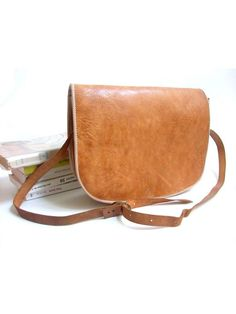Messenger BAG natural tan leather / crossbody by lesclodettes, $65.00