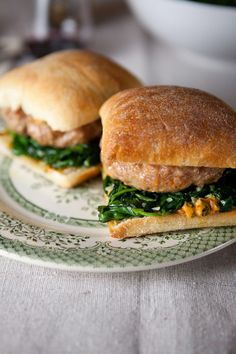 Italian Sausage Burgers with Garlicky Spinach