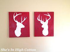 DIY deer silhouette canvas paintings