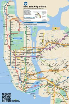 Fun Map: NYC & Brooklyn #Coffee Subway Map