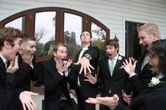 The groom showing off his ring...this is hilarious