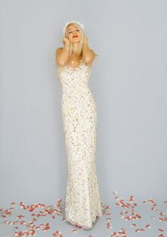 Isobel: Floor length boho hippie floral vintage lace sheath gown with flare.