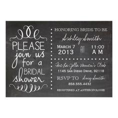 Chalkboard Bridal Shower Invitation - Zazzle
