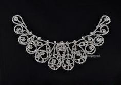 1 Clear Crystal Rhinestone Wedding Bridal Costume Sewing Pretty Collar Applique | eBay
