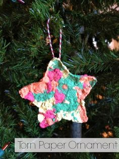 Chrismtas Craft ~ Kid Made Torn Paper Ornament