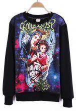 #SheInside  Black Long Sleeve Virgin Mary Galaxy Print Sweatshirt