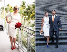 New blog post: http://janicemartin.net/2013/03/06/rethinking-short-wedding-gowns-couture-custom-bridal-dres/    Brides Megan (left) and Amy (right) are classic in their short wedding gowns. Megan's Marilyn Monroe inspired gown is fitted close to the body while Amy opted for a two-piece bridal ensemble in soft lace and chiffon. Left: Photography by Ricky Stern