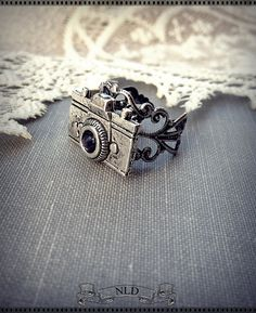Camera Ring Antique Silver Filigree Ring by nathalielynndesigns