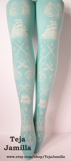 Pirate Printed Tights Small White Pearl on Duck Egg Blue Womens Nautical Tattoos Octopus Narwhal Squid Skull Anchor. $25.65, via Etsy.