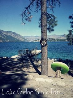 Waterfront campsite at Lake Chelan State Park, Washington state. Beautiful!