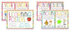 Verb, adverb, adjective, noun, pronoun and conjunction charts to help the kids understand and learn the grammar rules