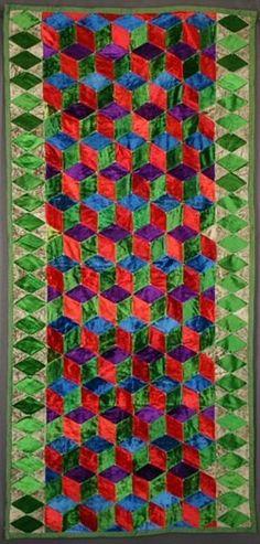 Tumbling Blocks Daybed Quilt circa 1920 at Stella Rubin Antiques