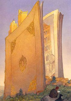 "klg19: "" Another sumptuous François Schuiten page—this, a poster for La page blanche. """