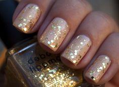::Beautiful...Sparkly Nails:: spark nail, golden glitter, gold nails, sparkle nails, glitter nails, beauti, nail ideas, nail bling, nail polish tricks