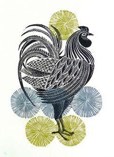 cockerel lino cut print by Amanda Colville via Flickr