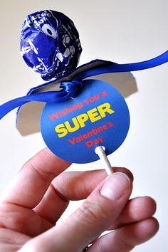 Love these superhero valentines . . . with free printable!
