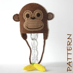 Crochet Animal Hat Pattern - Monkey Earflap Critter Hat - 4 sizes (6 months to adult). $7.95, via Etsy.