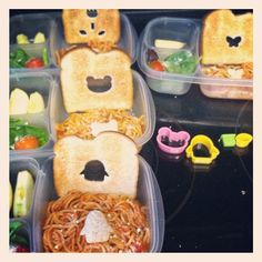 Packing lunch for four.