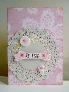 Lovely doily card by the talented Natty | Kool Kotty Musings  Paper: MME Dies: Cheery Lynn, WPlus9 Stamps: WPlus9 Other: 3D foam, liquid pearls, Stickles