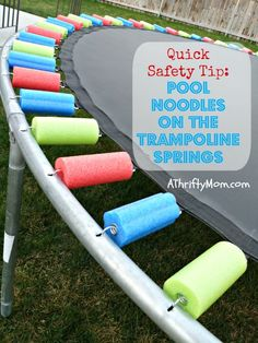 replace a worn out trampoline safety pad with pool noodles - Such a good idea!!! Easy DIY, #trampoline,#diy, #safety,