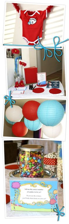 Dr suess themed book shower for twins would be so cute!! Have Dr Suess theme (especially thing 1 and thing 2 of course) and have all the guests bring books for baby!!