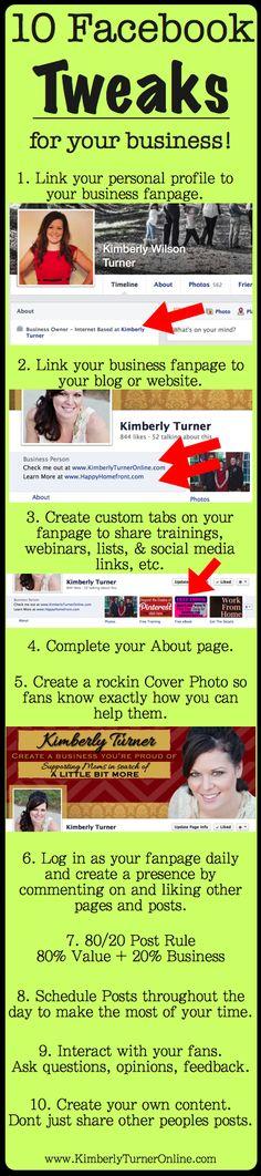 Helpful Facebook fan page tips!!  10 Facebook Tweaks for your Business