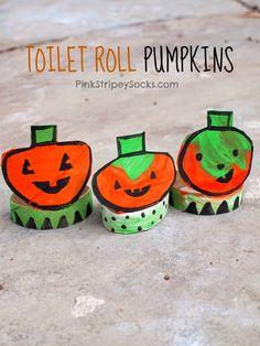 Toilet Paper Roll Pumpkins craft for Halloween!  #creativepreschoolers #Halloween
