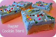 Sugar Cookie Bars:    1 cup unsalted butter, at room temperature  2 cups granulated sugar  4 large eggs  2 tsp vanilla extract  5 cups all-purpose flour  1 tsp salt  1/2 tsp baking sodaMom's Frosting:    Frosting:  1/2 cup (1 stick) margarine or butter, softened  1/4 cup milk  2 tsp vanilla  4 cups powdered sugar (more or less depending on how thick/runny you like it)