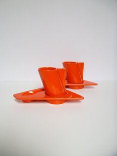 Orange espresso cups, Espresso cup and saucer set, 1980s Italian ceramics, vintage coffee cups