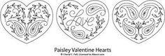 paisley hearts pattern set