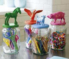 Glue an animal on top of a glass jar, spray paint, and use for storing little bits and bobs