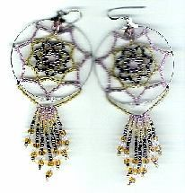 Seven Point Beaded Dream Catcher Earrings Pattern by Charlotte Holley - Beaded Legends by Chalaedra at Bead-Patterns.com