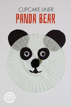 Panda Bear Cupcake Liner Craft  #preschool #animalcraft #kidscraft