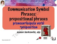 Communication Symbol Phrases -prepositional phrases for AAC users Speech Therapy from Keep Speaking 2 Me on TeachersNotebook.com -  (23 pages)  - Picture communication symbol phrase practice for AAC users or other students with significant language disabilities. For speech therapy or special education.