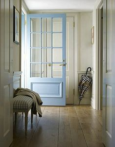 """Benjamin Moore color """"Jamestown Blue."""" I love that door:)"""
