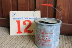 Vintage Flounder Competition & Minnow Bait Bucket