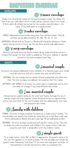 addressing invites - handy list to help you remember the proper way to address guests