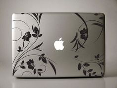 Black floral decal for Macbook Pro