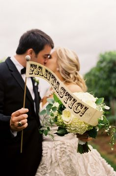 Everyone needs a FANTASTIC sign on their wedding day ;) Photography by jenfariello.com