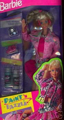 Paint N Dazzle Barbie - I had this doll, but opted not to decorate her outfit (generally speaking, I didn't like to alter my toys when I was little). #Barbie #dolls #toys #retro #nostalgia #childhood #1990s toy, puffy paint, outfit, box, paints, childhood, 1990s barbie dolls, kid, dazzl barbi