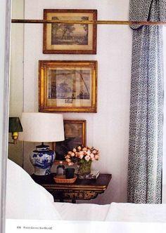 picture arrangements, bedroom decor, frame, vignett, guest bedrooms, blue, bedside tables, antiqu, curtain