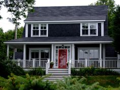 Dark siding, white trim, read door red doors, houses, gray hous, black house, architectur, le townhous, white, grey exterior, exterior updat