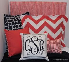 New coral and navy dorm room bedding. Just in time for college move in! Add a monogrammed pillow