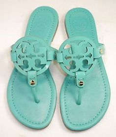 Tory Burch 'Miller' Patent Leather Sandal Turquoise Size 6M | eBay