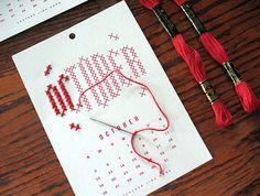 DIY 2014 Embroidery Calendar Kit. Fun!