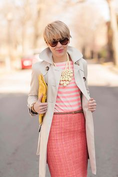 Pink Stripes & Off-White Coat