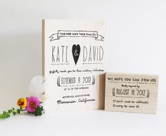 Whimsical custom wedding and RSVP stamp.