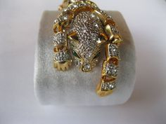 Rhinestone Leopard Cat Reticulated Shoulder Pin by GotMilkGlassAndMore, $44.95